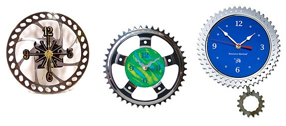 recycled bicycle clock for sale